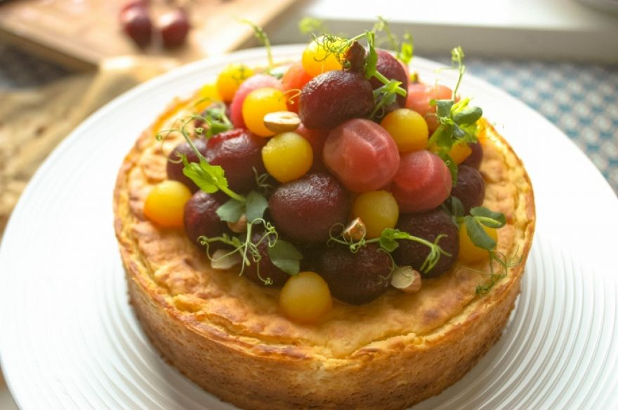 Savoury cheesecake with Beetroot & Hazelnut